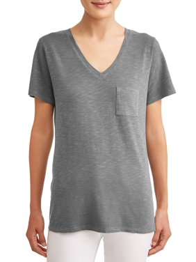 aae4feb8a Product Image Time and Tru Women's Short-sleeve V-neck Slub Tee