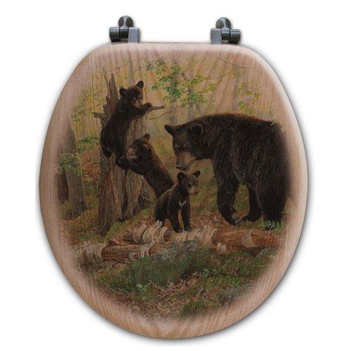 WGI-GALLERY Playtime Bears Oak Round Toilet Seat