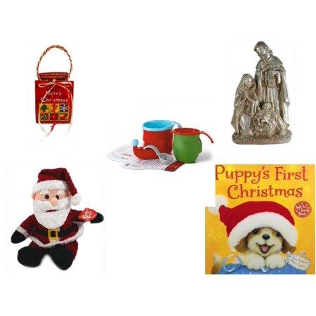 Christmas Fun Gift Bundle [5 Piece] - Musical Gift Card Holder - Silver Glitter Nativity Scene - Hallmark Bake Like an Elf Kit with Recipe Cards - Cuddly Cousins Santa  8