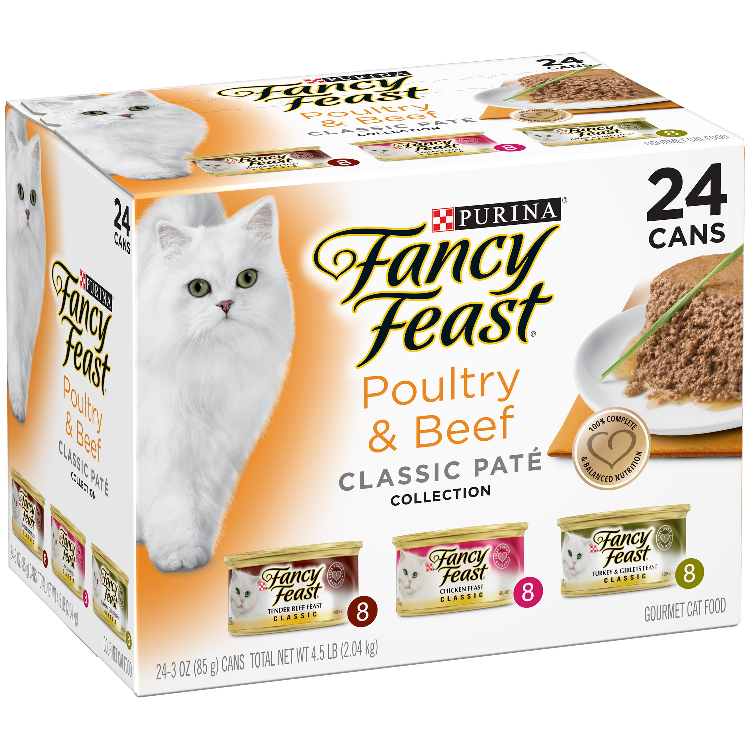 Purina Fancy Feast Classic Poultry & Beef Collection Cat Food 24-3 oz. Cans