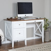 Belham Living Hampton Desk with Optional Hutch - White/Oak