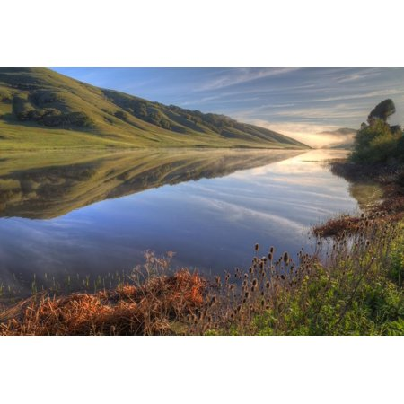 Northern Reflections - Late Winter Hills and Reflection, Northern California Print Wall Art By Vincent James