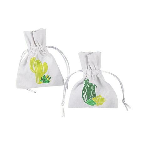 Fun Express - Cactus Party Fabric Bags for Cinco de Mayo - Party Supplies - Bags - Fabric & Textile Bags - Cinco de Mayo - 12 Pieces - Cinco De Mayo Items