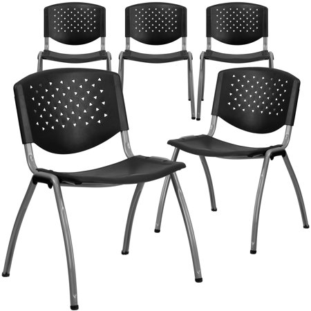 Flash Furniture 5pk Hercules Series 880 Lb Capacity Black Plastic Stack Chair With Anium Frame