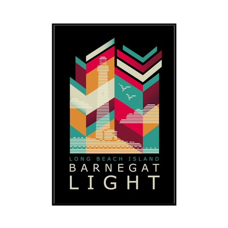 Long Beach Island, New Jersey - Barnegat Light - Geometric Line Art - Black Background - Lantern Press Artwork (12x18 Framed Gallery Wrapped Stretched Canvas)