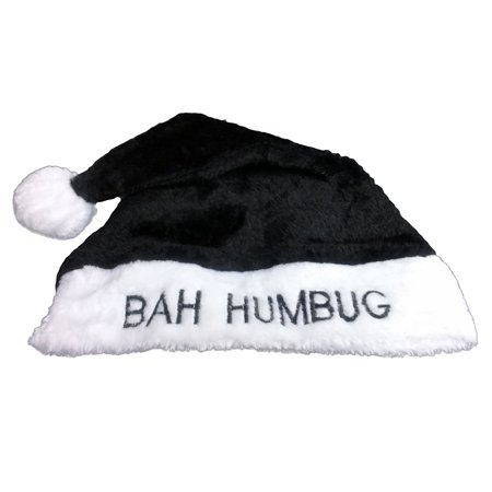 Bah Humbug Black Plush Santa Hat w Furry White Trim, Adult Size (22.5