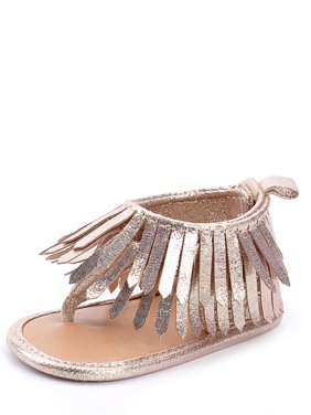 StylesILove Baby Toddler Girl Soft Sole Fringe Sandal Crib Shoes (2/6-12 Months, Gold)