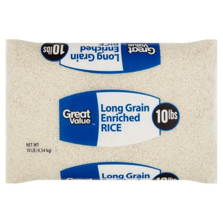(2 packs) Great Value Long Grain Rice, 10lb -$0.56/lb