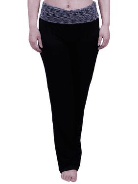 HDE Women's Color Block Fold Over Waist Yoga Pants Flare Leg Workout Leggings (Black Grey Space Dye, Large)