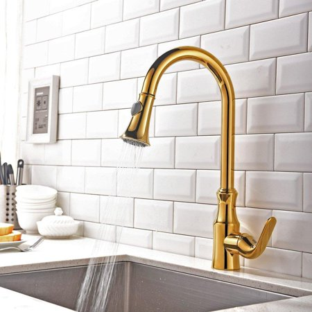 kunmai single handle solid brass kitchen faucet with pull out ...