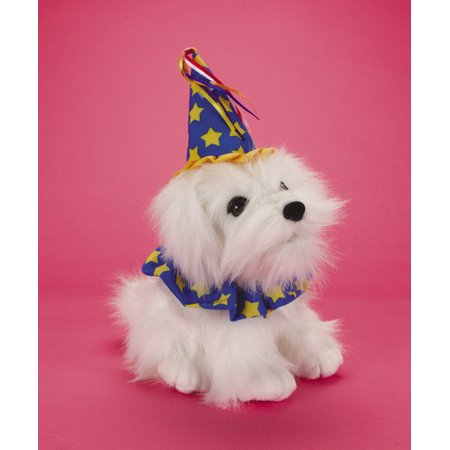 Loftus Singing Birthday Dog 11 Plush Interactive Toys White Blue