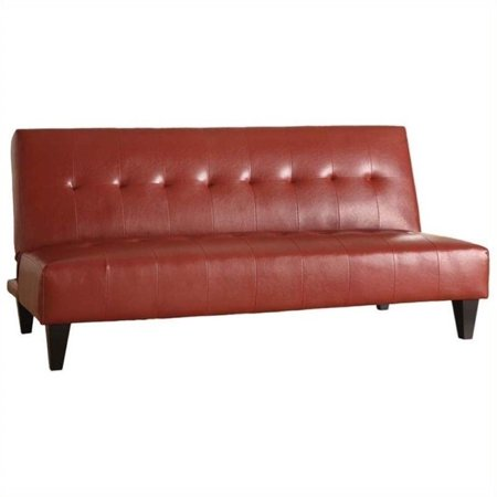 Bowery Hill Faux Leather Convertible Sofa In Red Walmart Com