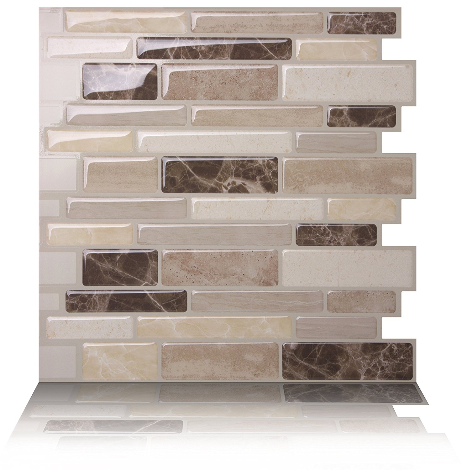 Tic Tac Tiles - Anti-mold Peel and Stick Wall Tile in Polito Bella (5-Tiles)