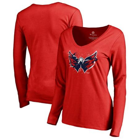 Washington Capitals Fanatics Branded Women's Splatter Logo V-Neck Long Sleeve T-Shirt - Red Washington Capitals Merchandise