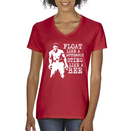 New Way 446 - Women's V-Neck T-Shirt Float Like A Butterfly Sting Bee Muhammad Ali