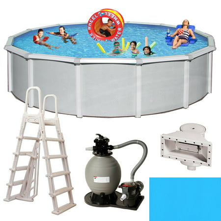 Blue Wave Samoan Round 52-in Deep 8-in Top Rail Metal Wall Swimming Pool Package Deep Swimming Pool Package