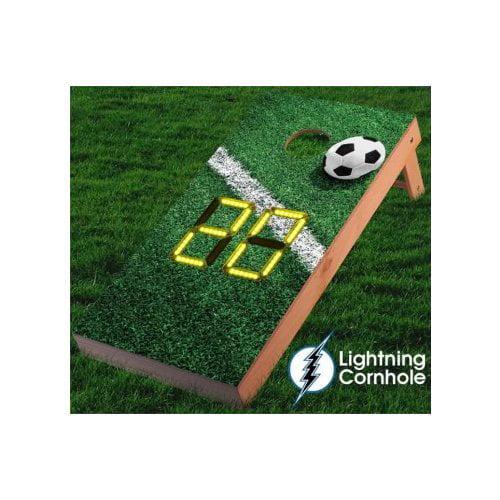 Lightning Cornhole Electronic Scoring Soccer Goal Line Cornhole Board by
