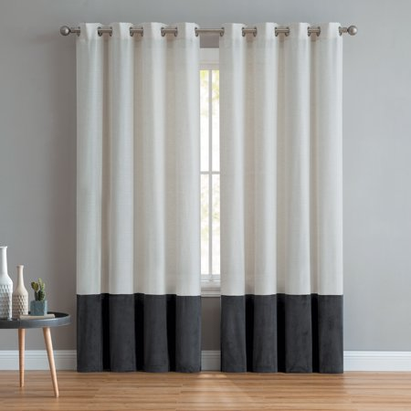 - Mainstays Joselyn Linen Velvet Grommet Top Curtain Panel