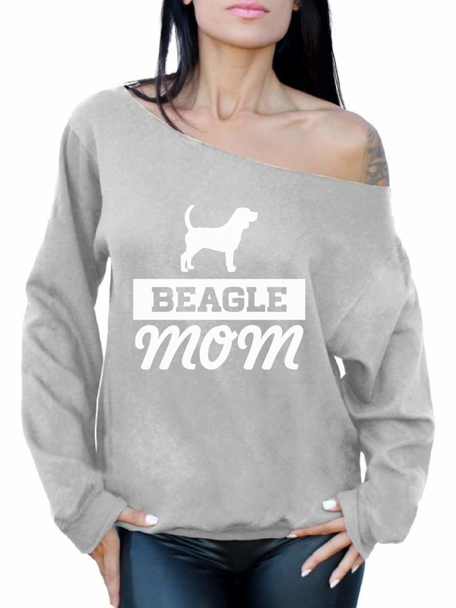Beagle Mom Dog Lover Off Shoulder Oversized Sweatshirt Gift for Mom