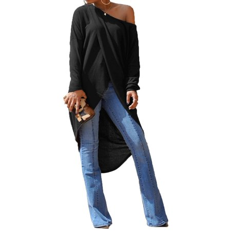 STARVNC Women Long Sleeve Cold Shoulder Overlady Pullover Maxi Shirt
