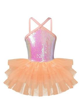 Girls Shine Dancewear Sequins Spaghetti Strap Back Ballet Leotard with Tutu