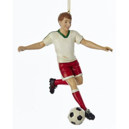 Boy Soccer Player Kicking Ball Christmas Tree Ornament Holiday Sports Decoration Boy Bear Holiday Ornament