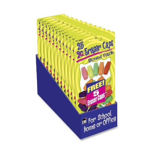 Cli Pencil Eraser Cap - Lead Pencil Eraser - Latex-free - Rubber - 25/pack - Assorted (76575ST)
