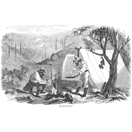 California Gold Rush 1852 Nscene At A Mining Camp During The California Gold Rush Wood Engraving American 1852 Poster Print by Granger Collection