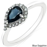 Malaika 10k White Gold Pear-cut Gemstone and 1/6ct TDW Diamond Ring (H-I, I2-I3) Blue Sapphire Size 8