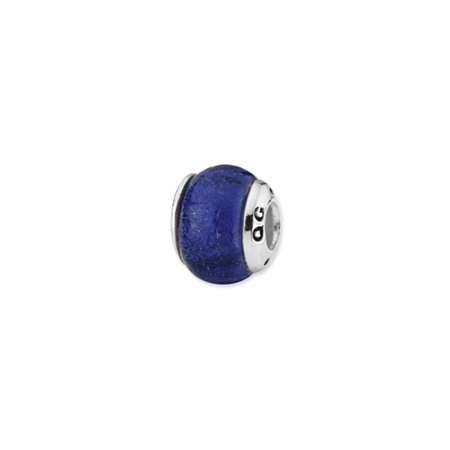 - Dichroic Glass and Sterling Silver Blue Bead Charm, 13mm