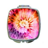 Pink-Orange-Purple Tie Dye - Compact Square Silvertone Mirror