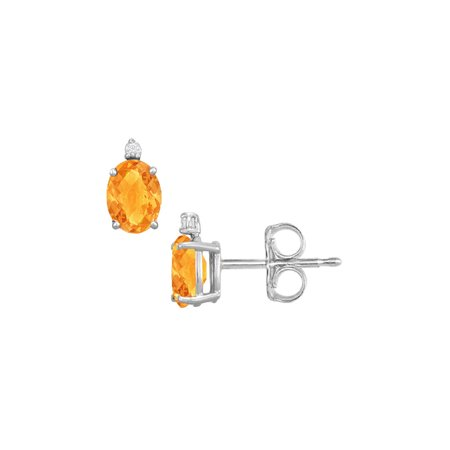 November Birthstone Oval Citrine and CZ Stud Earrings - image 2 de 2