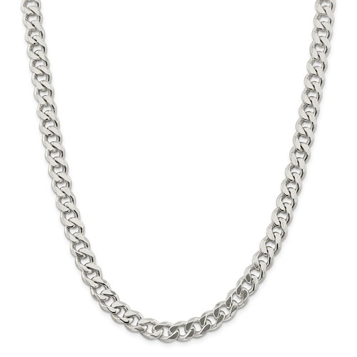 Sterling Silver 9in 9.00mm Men's Curb Chain Bracelet