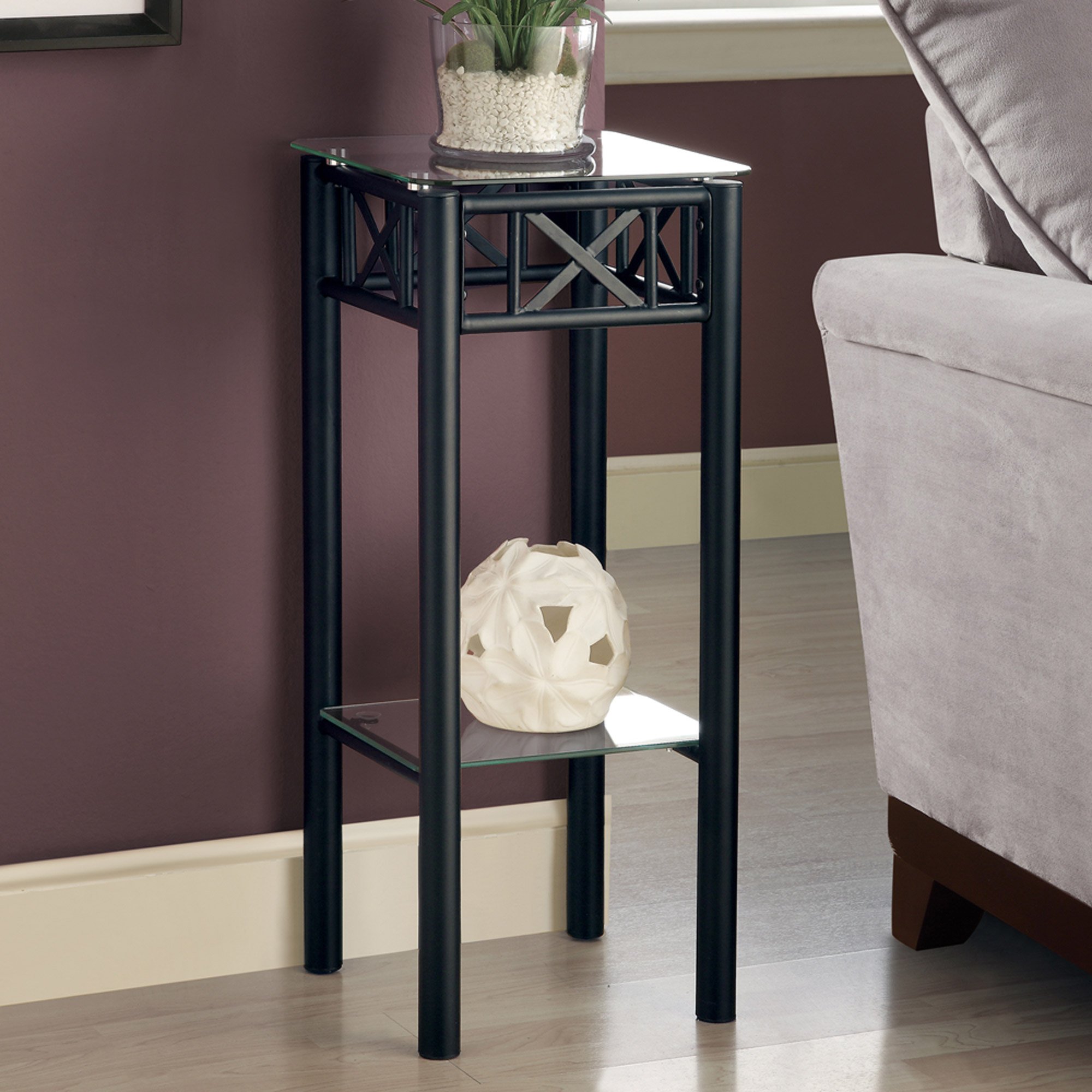Metal Plant Stand with Tempered Glass Top, Black