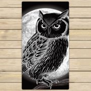YKCG Mysterious Full Moon Night Christmas Owl Hand Towel Beach Towels Bath Shower Towel Bath Wrap For Home Outdoor Travel Use 30x56 inches