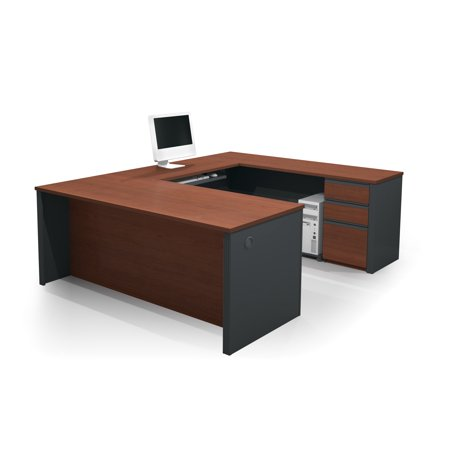 Prestige + U-shaped workstation including one pedestal in Bordeaux & Graphite