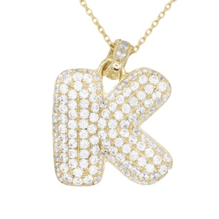 - 10k Gold Micro Pave CZ Letter K Initial Personalized Pendant Necklace