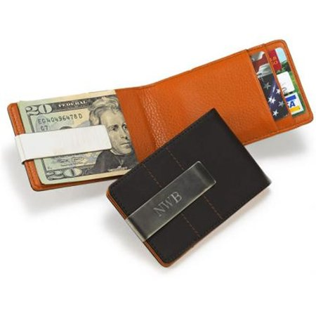 Personalized Metro Smooth Brown Leather Credit Card Wallet Engraved Metal Money Clip Holder Combo   Executive Style  Dimensions  4 25  X 2 75    Holds    By Creative Structures