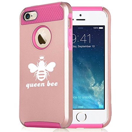size 40 74326 8ec39 For Apple iPhone 7 Shockproof Impact Hard Soft Case Cover Queen Bee (Rose  Gold-Hot Pink)
