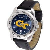"Georgia Tech Yellowjackets NCAA AnoChrome ""Sport"" Mens Watch (Leather Band)"