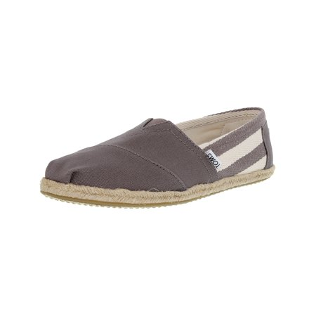 (Toms Women's Classic Striped Canvas Dark Grey Stripe University Ankle-High Flat Shoe - 10M)