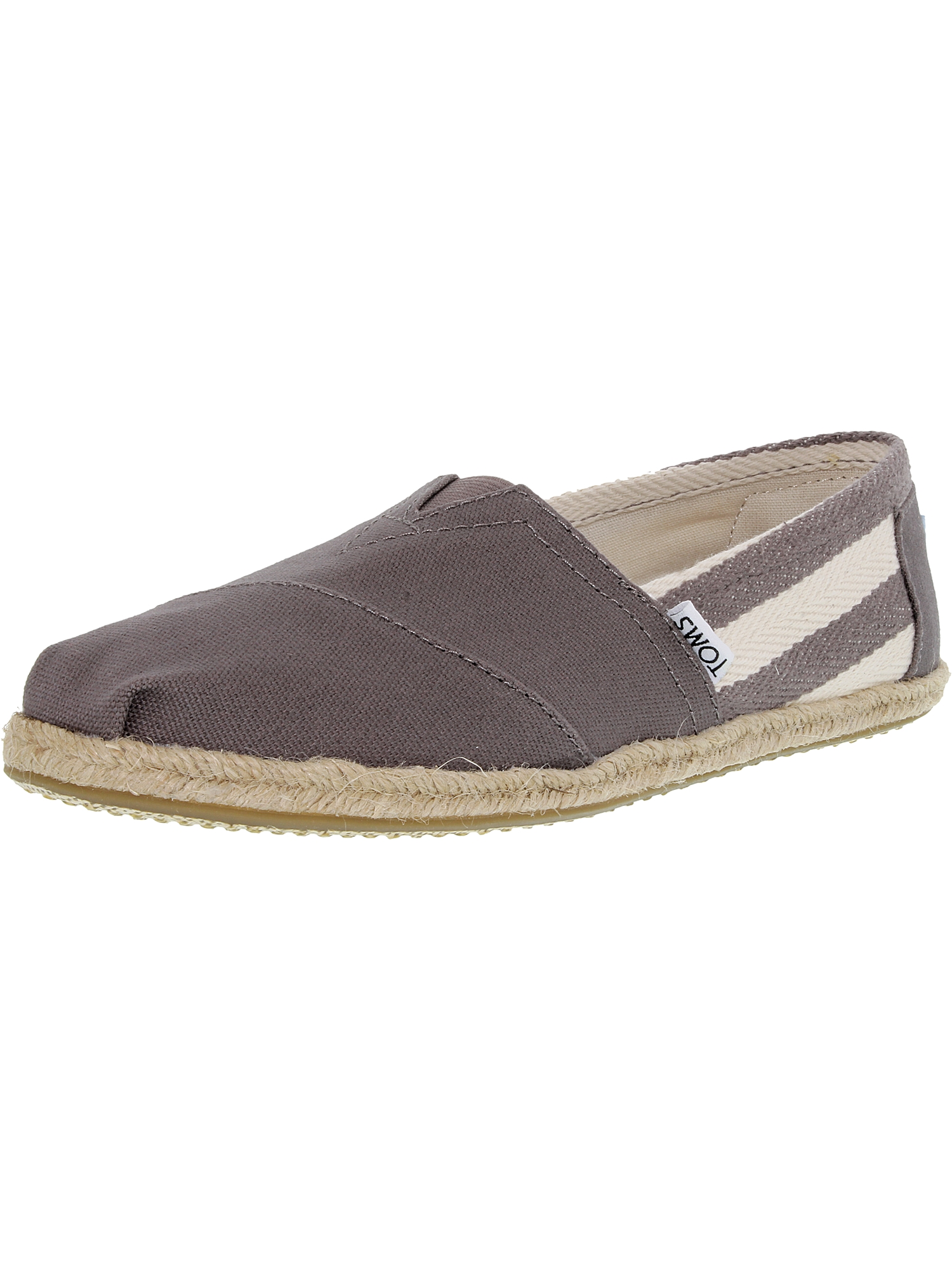 Toms Women's Classic Striped Canvas Dark Grey Stripe University Ankle-High Flat Shoe - 10M