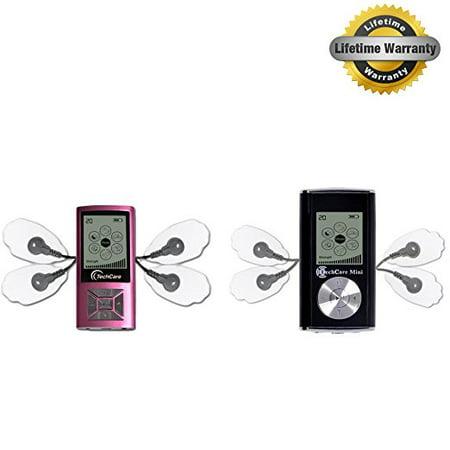 2 Pack Deal TechCare Mini Pink and Black [Lifetime Warranty] Best Massager Tens Unit Tens Machine for Migraine, Shoulder, Waist, Joint, Back, Arm, Leg, Neck Chronic Pain