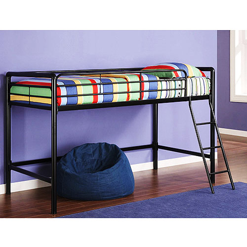 Boys Bed Junior Metal Loft Bed With Bonus Twin Mattress Bundle  Walmart