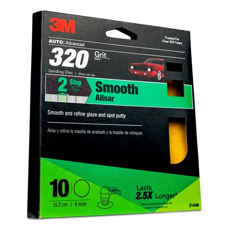 3M Sanding Discs with Stikit Attachment 10 Pack, 31446, 6 in, 320 grit, 10 packs per case (Disc Attachment)