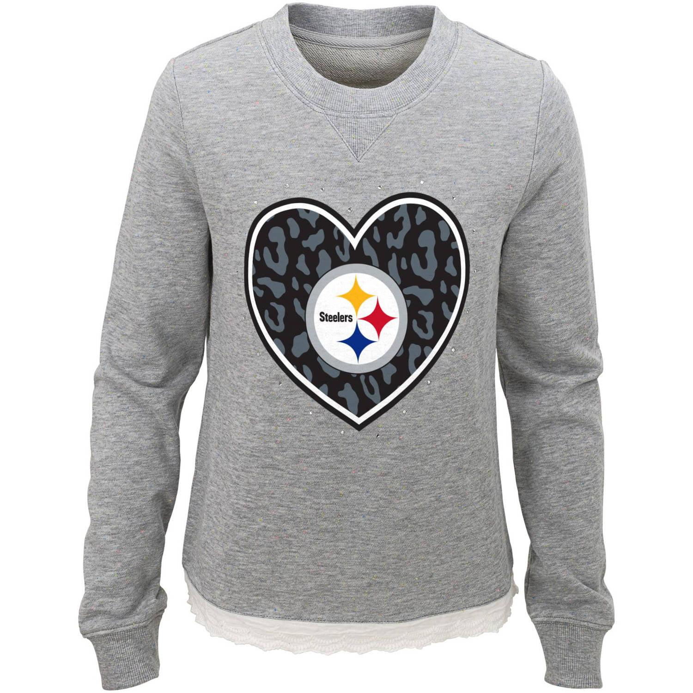 NFL Girls Steelers Long Sleeve French Terry Crew Neck Fleece