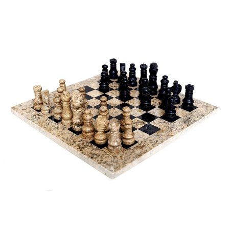 Handcrafted Marble Chess (Original Handmade Fossil Coral and Black Marble Chess Game Set )
