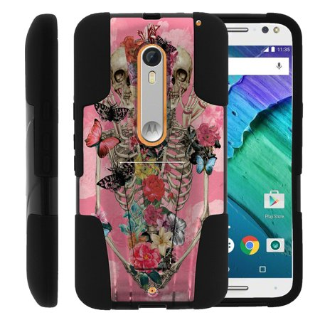 Motorola Moto X Style and Moto X Pure XT1575 STRIKE IMPACT Dual Layer Shock Absorbing Case with Built-In Kickstand - Rose Flower Skeleton ()