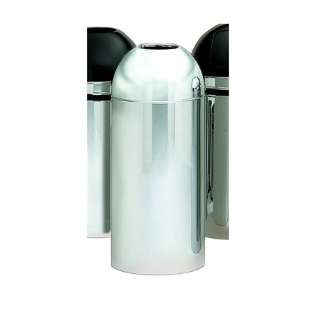 Steel Open Top Trash Receptacle in Polished Chrome Tone Finish - Open Top Receptacle Finish