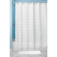 "InterDesign Tuxedo Fabric Shower Curtain, X-Long, 72"" x 96"", White"